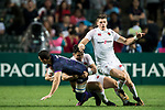 Jamie Farndale of Scotland is tackled by Callum Sirker<br /> of England during their Pool C match between England and Scotland as part of the HSBC Hong Kong Rugby Sevens 2018 on 06 April 2018, in Hong Kong, Hong Kong. Photo by Marcio Rodrigo Machado / Power Sport Images