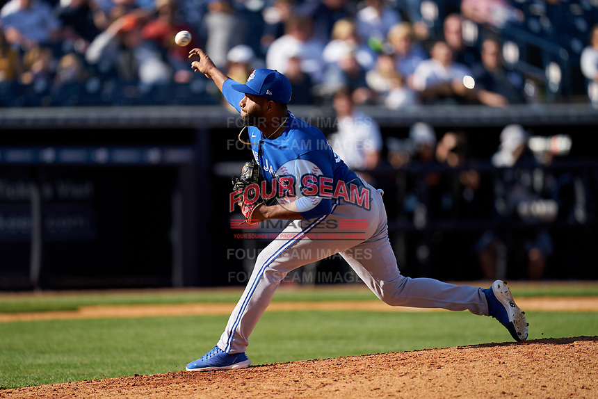 Toronto Blue Jays pitcher Yennsy Diaz (59) during a Spring Training game against the New York Yankees on February 22, 2020 at the George M. Steinbrenner Field in Tampa, Florida.  (Mike Janes/Four Seam Images)