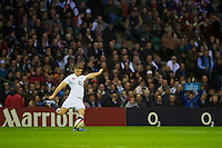 Owen Farrell of England takes a penalty kick during the QBE International between England and Fiji at Twickenham on Saturday 10th November 2012 (Photo by Rob Munro)