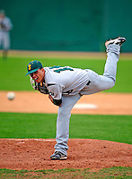30 April 2009: Siena College Saints' pitcher Nicco Stento, a Freshman from Binghamton, NY, on the mound against the University of Vermont Catamounts at Historic Centennial Field in Burlington, Vermont. The Saints outscored the Catamounts 11-10 in the afternoon matchup. The Catamounts are playing their last season of baseball, as the program has been marked for elimination due to budgetary constraints at the University. Mandatory Photo Credit: Ed Wolfstein Photo
