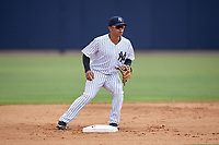 GCL Yankees West second baseman Luis Santos (2) during a game against the GCL Tigers West on August 10, 2018 at Yankee Complex in Tampa, Florida.  GCL Yankees West defeated GCL Tigers West 6-5.  (Mike Janes/Four Seam Images)