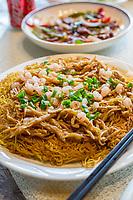 Suzhou, Jiangsu, China.  Noodles and Fresh-water River Shrimp.