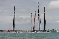 Racing during day two of the Louis Vuitton America's Cup World Series racing, Portsmouth, United Kingdom. (Photo by Rob Munro/Stewart Communications)