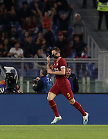 Football, Serie A: AS Roma - AC Milan, Olympic stadium, Rome, October 27, 2019. <br /> Roma's captain Edin Dzeko celebrates after scoring during the Italian Serie A football match between Roma and Milan at Olympic stadium in Rome, on October 27, 2019. <br /> UPDATE IMAGES PRESS/Isabella Bonotto