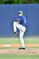 Asheville Tourists pitcher Austin Moore (6) delivers a pitch during a game against the Kannapolis Intimidators at McCormick Field on May 12, 2018 in Asheville, North Carolina. The Intimidators defeated the Tourists 11-8. (Tony Farlow/Four Seam Images)