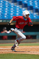 Matthew Maloney (7) of Central Catholic HS in Windham, NH playing for the Boston Red Sox scout team during the East Coast Pro Showcase at the Hoover Met Complex on August 5, 2020 in Hoover, AL. (Brian Westerholt/Four Seam Images)