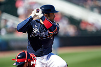Atlanta Braves Travis d'Arnaud (16) bats during a Major League Spring Training game against the Boston Red Sox on March 7, 2021 at CoolToday Park in North Port, Florida.  (Mike Janes/Four Seam Images)