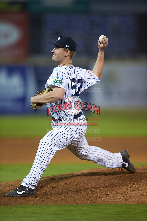 Pulaski Yankees relief pitcher Evan Voliva (53) in action against the Burlington Royals at Calfee Park on September 1, 2019 in Pulaski, Virginia. The Royals defeated the Yankees 5-4 in 17 innings. (Brian Westerholt/Four Seam Images)