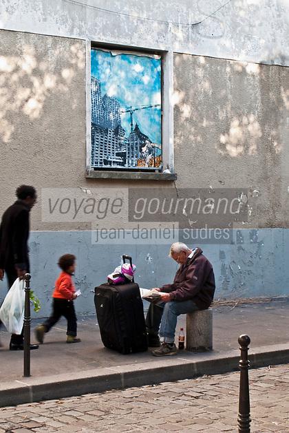 Europe/France/Ile de France/75011/Paris: Scènes de vie urbaine rue Jean Aicard [Non destiné à un usage publicitaire - Not intended for an advertising use]