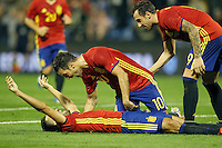 Spain's Mario Gaspar (l), Cesc Fabregas (c) and Paco Alcacer celebrate goal during international friendly match. November 13,2015.(ALTERPHOTOS/Acero)