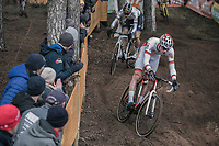 Mathieu Van der Poel (NED/Beobank-Corendon) and Wout Van Aert (BEL/Crelan-Charles) leading the race early on <br /> <br /> Elite Men's Race<br /> UCI CX World Cup Zolder / Belgium 2017