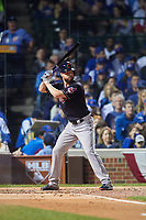 Cleveland Indians Corey Kluber (28) bats in the second inning during Game 4 of the Major League Baseball World Series against the Chicago Cubs on October 29, 2016 at Wrigley Field in Chicago, Illinois.  (Mike Janes/Four Seam Images)