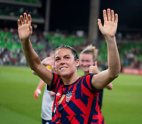 AUSTIN, TX - JUNE 16: Kelley O'Hara #5 of the USWNT waves to the crowd during a game between Nigeria and USWNT at Q2 Stadium on June 16, 2021 in Austin, Texas.