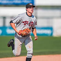 4 September 2017: Tri-City ValleyCats outfielder Jacob Meyers returns to the dugout after pulling in a fly ball for the third out in the 6th inning during the first game of a double-header against the Vermont Lake Monsters at Centennial Field in Burlington, Vermont. The ValleyCats split their games, winning 6-5 in the first, then dropping the second 7-4 to the Lake Monsters in NY Penn League action. Mandatory Credit: Ed Wolfstein Photo *** RAW (NEF) Image File Available ***