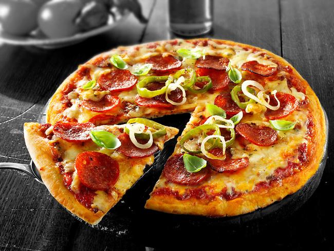 Italian pepperoni Pizza photo. Funky stock pizzas photos