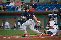 State College Spikes Stanley Espinal (21) bats during a NY-Penn League game against the Mahoning Valley Scrappers on August 29, 2019 at Eastwood Field in Niles, Ohio.  State College defeated Mahoning Valley 8-1.  (Mike Janes/Four Seam Images)