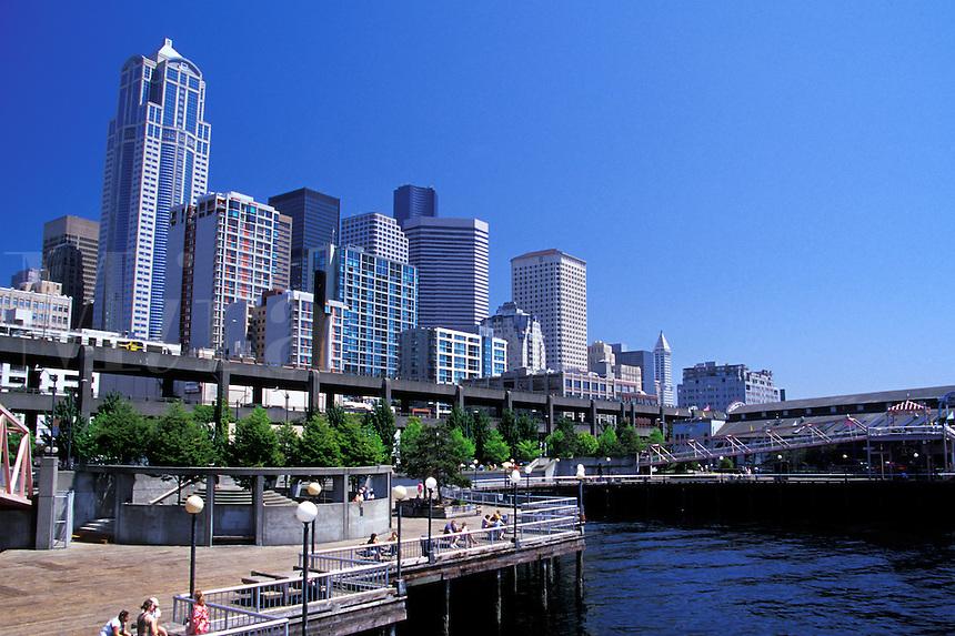 Seattle skyline from waterfront, Seattle, Washington.