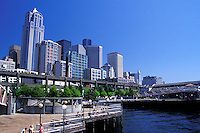 Seattle skyline from waterfront, Seattle, Washington.