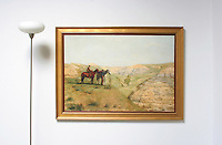 """Thomas Eakins 1888 Cowboys in the Badlands, Large Version<br /> Reference #<br /> 2648_2180_486287_01dp<br /> Framed Dims.40.5"""" x 54.5"""" <br /> Image Dims.33.5"""" x 47"""" <br /> Medium Digital Print <br /> This landscape was inspired by a ten-week trip Eakins made to the Dakota Badlands in the summer of 1887."""