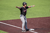 South Carolina Gamecocks center fielder Brady Allen (33) signals a safe call against the Vanderbilt Commodores at Hawkins Field in Nashville, Tennessee, on March 21, 2021. The Gamecocks won 6-5. (Danny Parker/Four Seam Images)