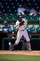 Bradenton Marauders shortstop Alfredo Reyes (13) swings at a pitch during a game against the Charlotte Stone Crabs on April 9, 2017 at LECOM Park in Bradenton, Florida.  Bradenton defeated Charlotte 5-0.  (Mike Janes/Four Seam Images)