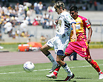 UNAM Pumas forward Jose Luis Lopez fights for the ball with UAG Tecos defender Daniel Luduena from Argentina during their soccer match March 19, 2006 at the University Stadium. UAG Tecos won 1-0 to Pumas. Photo by © Javier Rodriguez