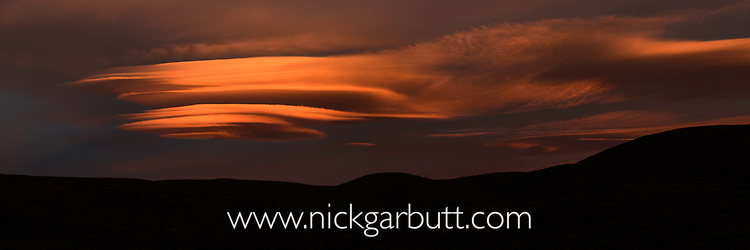 Lenticular cloud at sunrise. Torres del Paine National Park, Patagonia, Chile.