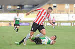 10 July 2014; Rory Patterson, Derry City, in action against Thomas Atyeo, Aberystwyth Town. UEFA Europa League First Qualifying Round, Second Leg, Aberystwyth Town v Derry City. Park Avenue, Aberystwth, Wales. Picture credit: Ian Cook / SPORTINGWALES