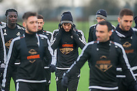 Wednesday  06 January 2016<br /> Pictured: Jack Cork of Swansea walks with the squad during training <br /> Re: Swansea City Training session at the Fairwood training ground, Swansea, Wales, UK