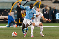 Melbourne, 21 July 2015 - Bacary Sagna of Manchester City and Juan Iturbe of AS Roma fight for the ball in game two of the International Champions Cup match at the Melbourne Cricket Ground, Australia. City def Roma 5-4 in Penalties. (Photo Sydney Low / AsteriskImages.com)