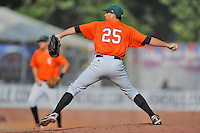 Augusta GreenJackets starting pitcher Justin Schumer #25 delivers a pitch during a game against the Asheville Tourists at McCormick Field on August 31, 2013 in Asheville, North Carolina. The Tourists won the game 6-5. (Tony Farlow/Four Seam Images)