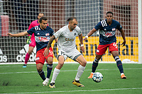 FOXBOROUGH, MA - APRIL 17: Hernan Gonzalez #19 of Richmond Kickers turns to pass the ball near the New England goal during a game between Richmond Kickers and Revolution II at Gillette Stadium on April 17, 2021 in Foxborough, Massachusetts.