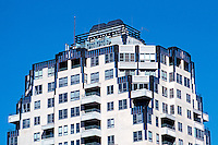 Seattle: Watermark Tower--zoom. Built in 1983, Baumgardner Architects. Art Deco style. Photo '86.