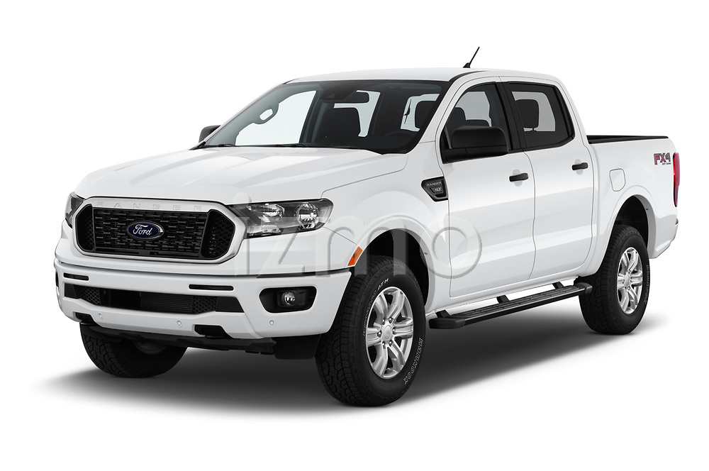 2019 Ford Ranger XLT 4 Door Pick Up angular front stock photos of front three quarter view