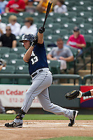 New Orleans Zephyrs shortstop Ed Lucas #13 follows through on his swing against the Round Rock Express in the Pacific Coast League baseball game on April 21, 2013 at the Dell Diamond in Round Rock, Texas. Round Rock defeated New Orleans 7-1. (Andrew Woolley/Four Seam Images).