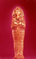 Egypt:  Canopic Coffin--gold inlaid with gems. Treasures of Tutankhamun, Cairo Museum.  MMA 1976.