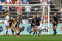 BRIDGEVIEW, IL - JULY 18: Dzsenifer Marozsan #8 of the OL Reign shoots the ball during a game between OL Reign and Chicago Red Stars at SeatGeek Stadium on July 18, 2021 in Bridgeview, Illinois.