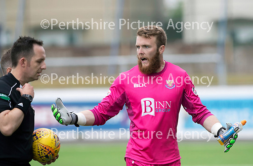 Montrose v St Johnstone…21.07.18…  Links Park    League Cup<br />Zander Clark has words with referee Barry Cook as they walk off at half time<br />Picture by Graeme Hart. <br />Copyright Perthshire Picture Agency<br />Tel: 01738 623350  Mobile: 07990 594431