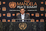 Opening Plenary Meeting of the Nelson Mandela Peace Summit<br /> <br /> His Excellency Danny FAUREPresident of the Republic of Seychelles