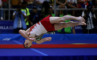 BARRANQUILLA - COLOMBIA, 23-07-2018: Simon Lopez de Mexico durante su participación en gimnasia hombres modalidad piso como parte de los Juegos Centroamericanos y del Caribe Barranquilla 2018. /  Simon Lopez of Mexico during his participation in gymnastics men's floor category as a part of the Central American and Caribbean Sports Games Barranquilla 2018. Photo: VizzorImage / Cont