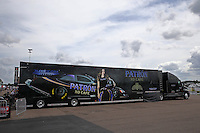 Mar 13, 2015; Gainesville, FL, USA; The semi car hauler for NHRA funny car driver Alexis DeJoria during qualifying for the Gatornationals at Auto Plus Raceway at Gainesville. Mandatory Credit: Mark J. Rebilas-