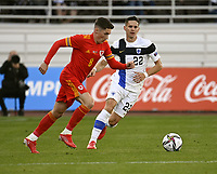September 1st 2021: Helsinki, Finland;   Harry Wilson of Wales breaks from Finlands Jukka Raitala during the International Friendly Finland versus Wales at the Helsinki Olympic Stadium