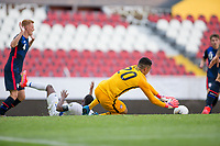 GUADALAJARA, MEXICO - MARCH 18: David Ochoa #20 of the United States making a save during a game between Costa Rica and USMNT U-23 at Estadio Jalisco on March 18, 2021 in Guadalajara, Mexico.