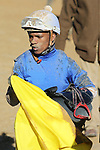 January 22, 2021: Jockey Ricardo Santana, Jr. after the 5th race at Oaklawn Racing Casino Resort in Hot Springs, Arkansas on January 22, 2021. Justin Manning/Eclipse Sportswire/CSM