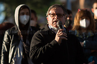 """Alessandro Orsetti, Lorenzo """"Orso"""" Orsetti's Father. <br /> <br /> Rome, Italy. 23rd Apr, 2021. Today, Azione Antifascista Roma Est, supported by ANPI (Associazione Nazionale Partigiani d'Italia ANPI - National Association of Italian Partizans, Members of the Italian Resistance in WWII) Centocelle and the Kurdish Community (Rete Kurdistan Roma and Ararat Kurdish Cultural Centre), held a demonstration (1.) to commemorate the second anniversary of the death of Lorenzo """"Orso"""" Orsetti, the Italian citizen who died the 18th of March 2019 in the North of Syria / Rojava while fighting against ISIS along with the Kurdish forces. At the end of the demo a memorial plaque was installed in Camelie's Square which says: """"Ogni tempesta comincia con una singola goccia. Cercate di essere voi quella goccia"""" (Every storm begins with a single drop. Try to be that drop). <br /> <br /> Footnotes & Links:<br /> 1. http://bit.do/fQAAU <br /> (Source, Wikipedia.org ENG) https://en.wikipedia.org/wiki/Lorenzo_Orsetti"""