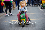 Little Ava Nammock from Kilflynn on her little tractor at the kids race in Abbeydorney on Sunday.