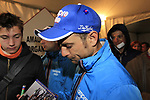 Michele Scarponi (ITA) Lampre-ISD signs autographs for fans at the team presentations at the Palais Provincial in Liege city centre before the 98th edition of Liege-Bastogne-Liege 2012. 21st April 2012.  <br /> (Photo by Eoin Clarke/NEWSFILE).