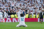 Real Madrid Marcelo celebrating a goal during Eight Finals Champions League match between Real Madrid and PSG at Santiago Bernabeu Stadium in Madrid , Spain. February 14, 2018. (ALTERPHOTOS/Borja B.Hojas)