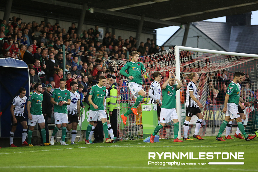 Teams enter the field during the SSE Airtricity League Premier Division game between Cork City and Dundalk on Friday 21st September 2018 at Turners Cross, Cork. Photo By Michael P Ryan