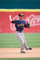 Scranton/Wilkes-Barre RailRiders shortstop Jonathan Diaz (1) throws to first during a game against the Buffalo Bisons on July 2, 2016 at Coca-Cola Field in Buffalo, New York.  Scranton defeated Buffalo 5-1.  (Mike Janes/Four Seam Images)